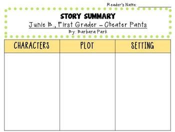 Junie B., First Grader - Cheater Pants by Barbara Park:  A  Literature Study!