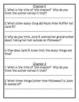 Junie B., First Grader Entire Series Comprehension Packets