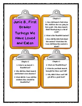 Junie B., First Grader: Turkeys We Have Loved and Eaten - Discussion Cards
