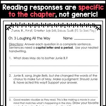 Junie B. First Grader, Jingle Bells Batman Smells: Unit of Reading Responses