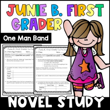 Junie B., First Grader One Man Band: Complete Unit of Reading Responses