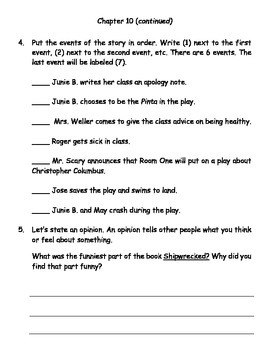 Junie B., First Grader Shipwrecked (Reading Contract & Activity Packet)