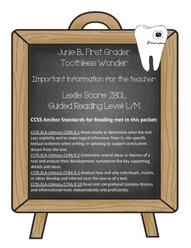Junie B., First Grader Toothless Wonder (Reading Contract & Activity Packet)