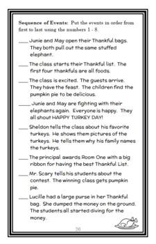 Junie B., First Grader Turkeys We Have Loved and Eaten (Park) Novel Study
