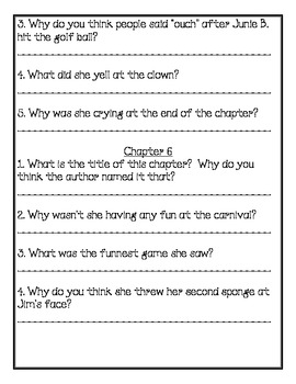 Junie B. Jones and the Yucky Blucky Fruitcake Comprehension Packet