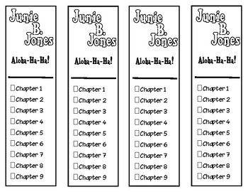 Junie B. Jones Aloha-Ha-Ha Chapter Cheklist Bookmarks
