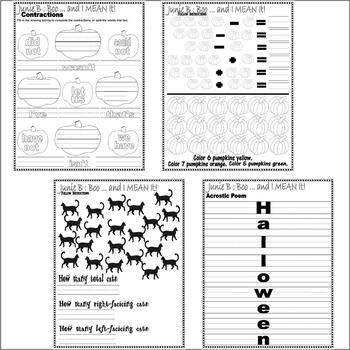 Junie B Jones Boo and I MEAN IT! Halloween Comprehension Activity PACKET 28p
