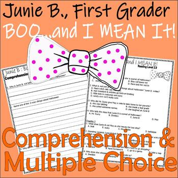 Junie B Jones Boo and I MEAN IT! Halloween Multiple Choice Chapter Comprehension