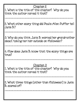Junie B. Jones Boo and I Mean It! Comprehension Packet