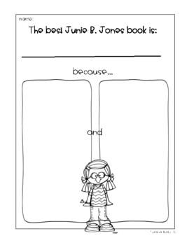 "Junie B. Jones ""Book Buddy"" {No Prep Reading Response Graphic Organizers}"