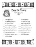 Junie B. Jones Book Check List