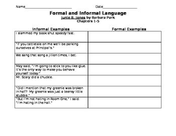 Junie B. Jones Chapters 1-5 Formal and Informal Language Task