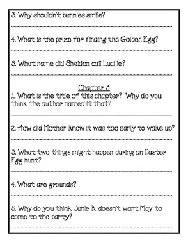 Junie B. Jones Dumb Bunny Comprehension Packet