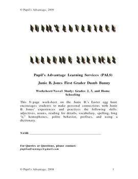 Junie B Jones Dumb Bunny Worksheet with answer key