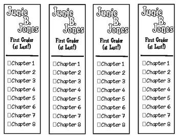 Junie B. Jones First Grader (At Last!) Chapter Checklist Bookmarks