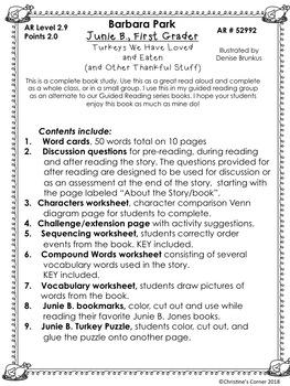 Junie B. Jones First Grader Thanksgiving  Novel Study Reading Lesson Worksheets