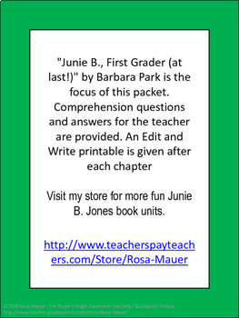 Junie B. Jones First Grader at Last Book Unit