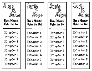 Junie B. Jones Has a Monster Under Her Bed Chapter Checklist Bookmarks
