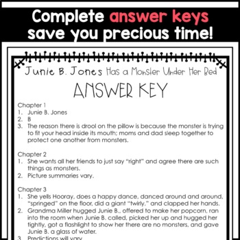 Junie B. Jones Has a Monster Under Her Bed: Complete Unit of Reading Responses