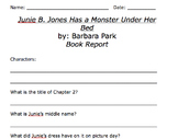 Junie B Jones Has a Monster Under Her Bed Comprehension Worksheet