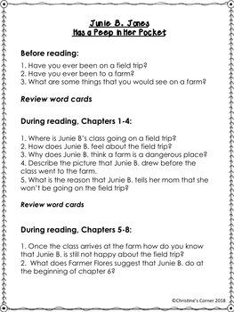 Junie B. Jones Has a Peep in Her Pocket Novel Study Reading Lesson Worksheets