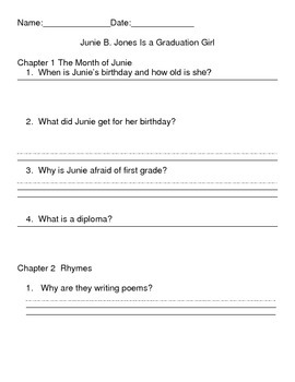 Junie B Jones Is a Graduation Girl Reading Comprehension Packet
