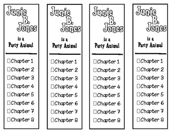 Junie B. Jones Is a Party Animal Chapter Checklist Bookmarks