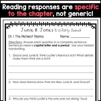 Junie B. Jones Is a Party Animal: Complete Unit of Reading Responses