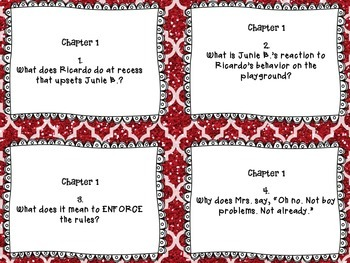 Junie B. Jones Is (almost) A Flower Girl - CCSS aligned close reading task cards
