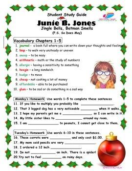 Junie B. Jones -  Jingle Bells Batman Smells CCSS Aligned Study Guide and Tests