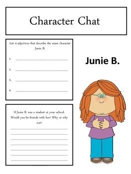 Junie B. Jones Loves Handsome Warren Response Notebook (19 pages)