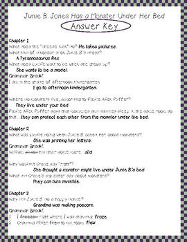 Junie B. Jones Monster Under her Bed #8 comprehension and grammar packet