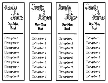 Junie B. Jones One-Man Band Chapter Checklist Bookmarks