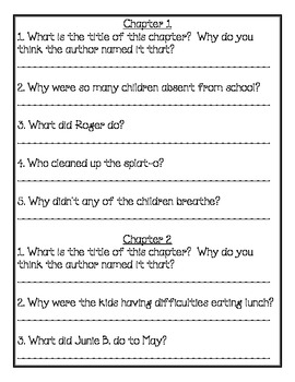 Junie B. Jones Shipwrecked Comprehension Packet