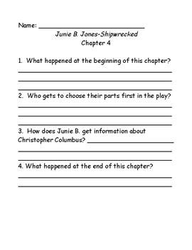 Junie B. Jones Shipwrecked comprehension questions