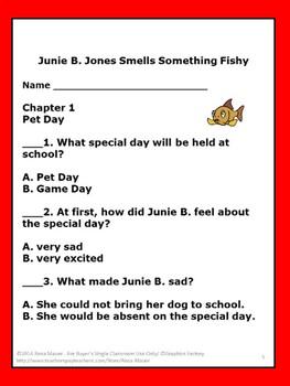 Junie B Jones Smells Something Fishy Literacy Unit