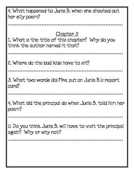 Junie B. Jones Graduation Girl Comprehension Packet