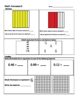 Math Homework - Fractions to Decimals (tenths and hundredths)