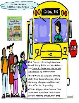Junie B. Jones Stupid Smelly Bus Reading  Study Guide CCSS ELA Printable