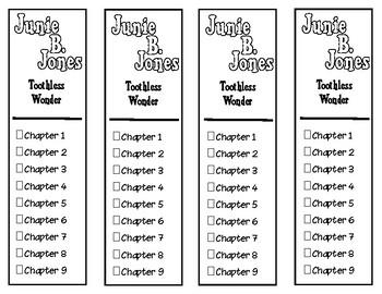 Junie B. Jones Toothless Wonder Chapter Checklist Bookmarks