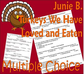 Junie B Jones Turkeys We Have Loved Thanksgiving Multiple Choice Comprehension
