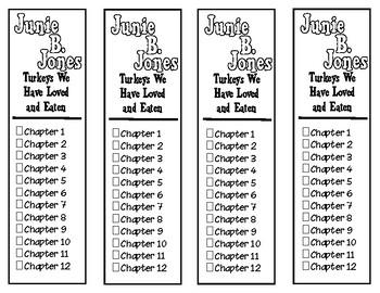 Junie B. Jones Turkeys We Have Loved and Eaten Chapter Checklist Bookmarks