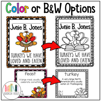 Junie B Jones Turkeys We Have Loved and Eaten Comprehension Unit