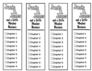 Junie B. Jones and A Little Monkey Business Chapter Checklist Bookmarks