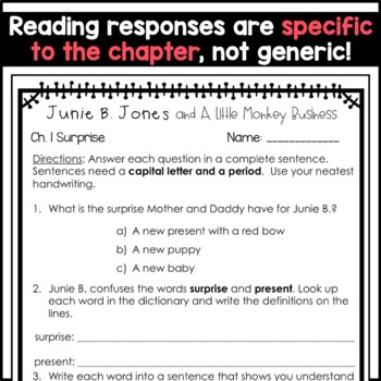 Junie B. Jones and A Little Monkey Business: Complete Unit of Reading Responses