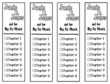 Junie B. Jones and Her Big Fat Mouth Chapter Checklist Bookmarks