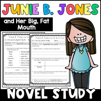Junie B. Jones and Her Big Fat Mouth: Complete Unit of Reading Responses
