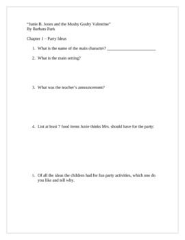 """Junie B. Jones and Mushy Gushy Valentine"", Questions/Projects"