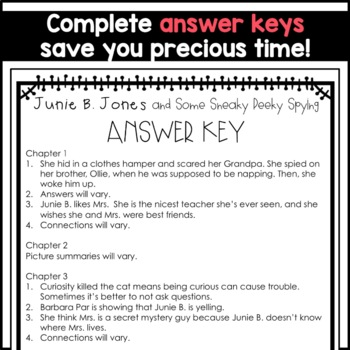 Junie B. Jones and Some Sneaky Peeky Spying: Complete Unit of Reading Responses