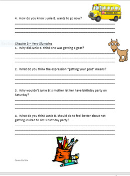 Junie B. Jones and That Meanie Jim's Birthday Question & Answer Sheets